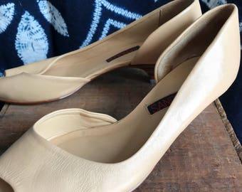 b9c05e9f2f7 Vintage 80 s Sandler Nude D Orsay Peep Toe Kitten heel. Size 5.5.