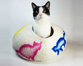 Cat Cave Bed Large by Walking Palm - Dancing Cats - ships now from usa Cat Bed Pet Bed Hand Felted Wool