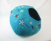 Cat Cave Bed Large by Walking Palm - Starry Nights - ships now from usa Cat Bed Pet Bed Hand Felted Wool