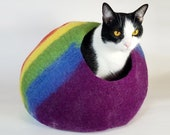Cat Cave Bed Large by Walking Palm - FREE SHIP - Rainbow - ships now from usa Cat Bed Pet Bed Hand Felted Wool