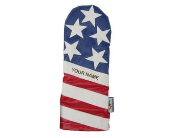 Personalized Golf Headcover Name Engraved Sunfish leather driver headcover Liberty USA American Flag !