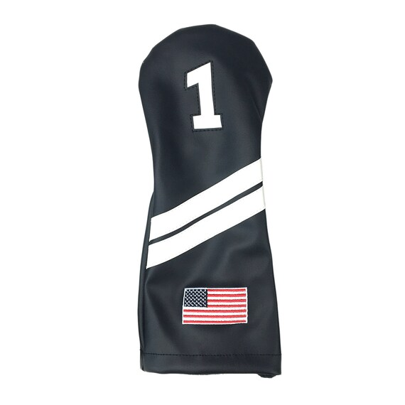 Black and White with USA Flag Leather Golf Driver Headcover  a59cb830c