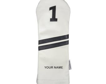 Personalized Golf Headcover Name Engraved Sunfish leather driver headcover white black !