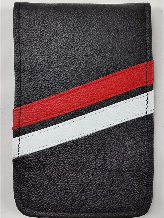 Yardage Book Cover Diy : Sunfish black red and white hand made leather golf
