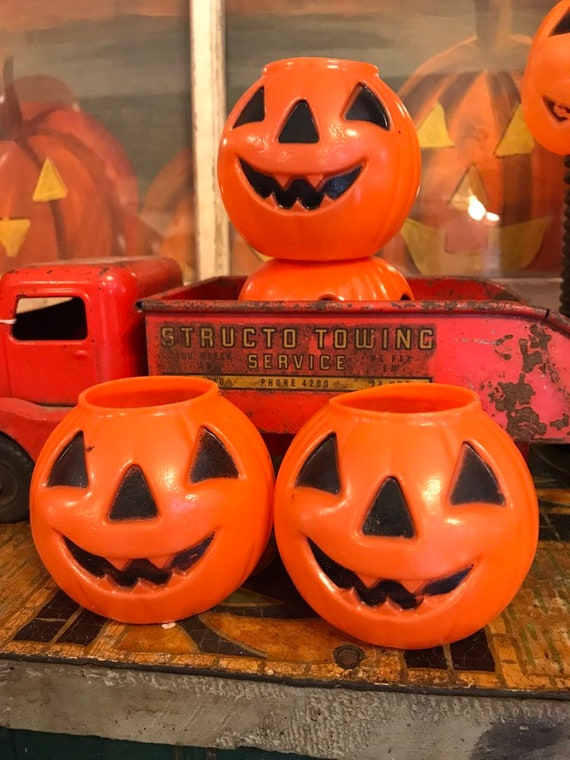 Small Blow Mold Jack O Lantern Pumpkins Candy Container Vintage Halloween 2x3 Inches