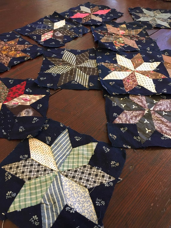 Late 1800s Quilted Star Blocks- lot of 12