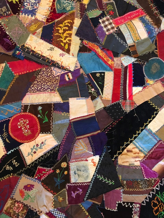1890s Crazy Quilt Block Pieces