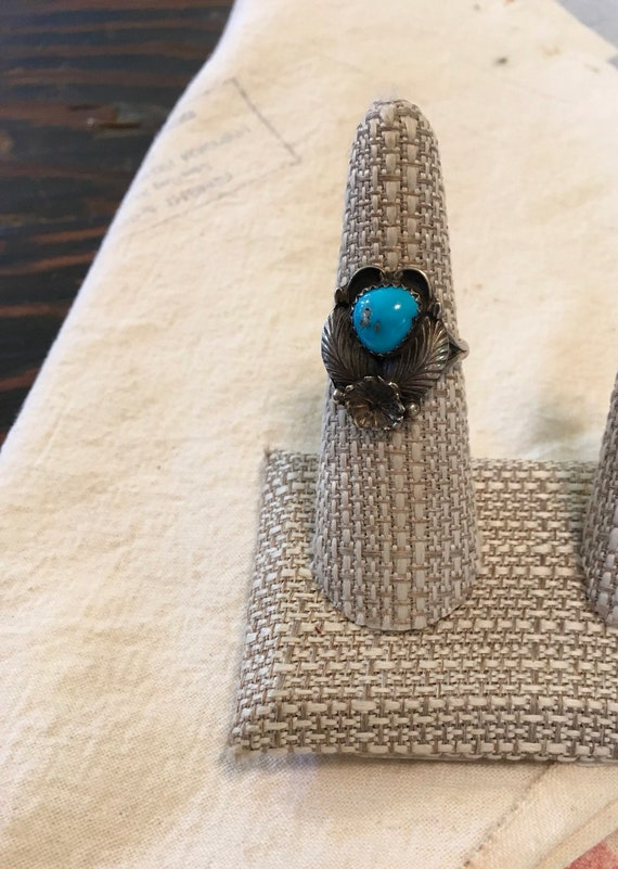 Beautiful Blue Sterling Turquoise Ring Size 7.5 Vintage Native American Navajo
