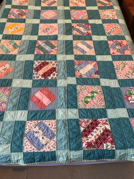 Indiana Blue Patched Farm Handmade, Hand Stitched, Hand Quilted Cotton Quilt