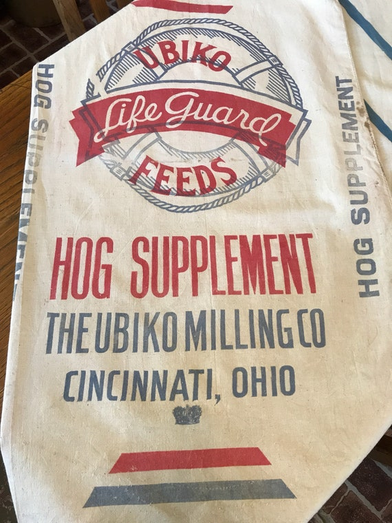 Vintage Feedsack - Ubiko Life Guard Feeds Hog Supplement 100lb Farmhouse Style