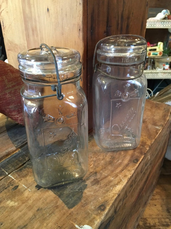 Pair of Vintage Clear Queen Wide Mouth Mason Jars with Glass Lids