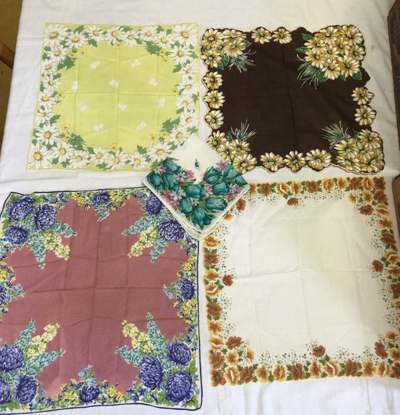 Colorful Vintage Floral Handkerchief Lot of 5