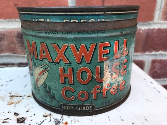 Oldest Orange & Blue White 1940s Maxwell House Coffee Tins 1 lb can w original lid