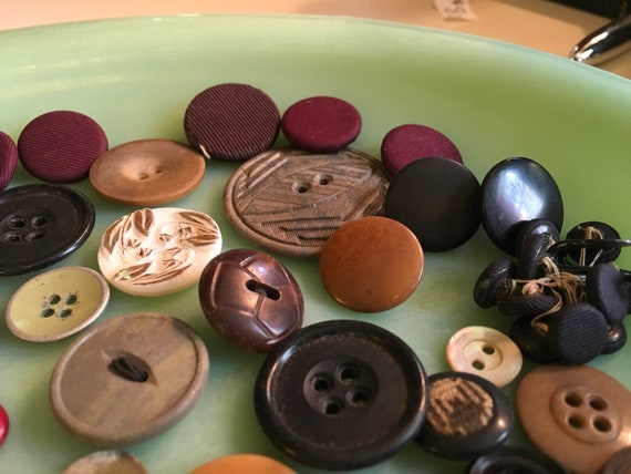 Lot Antique Buttons- Rubber, Metal, and Plastic