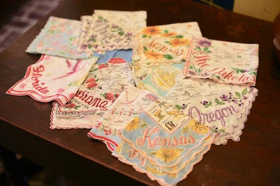 Vintage United States Handkerchieves USA Travel Souvenir