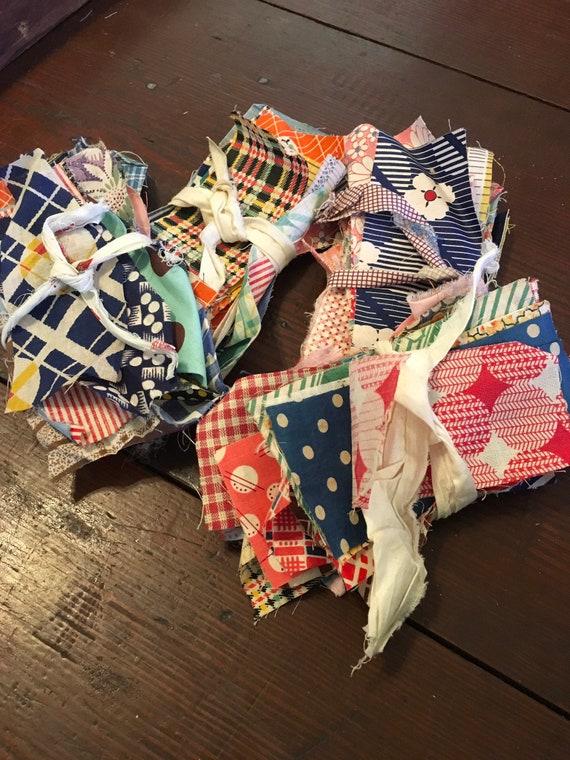 Vintage Fabric Scraps Mid Century- Bundle of 30