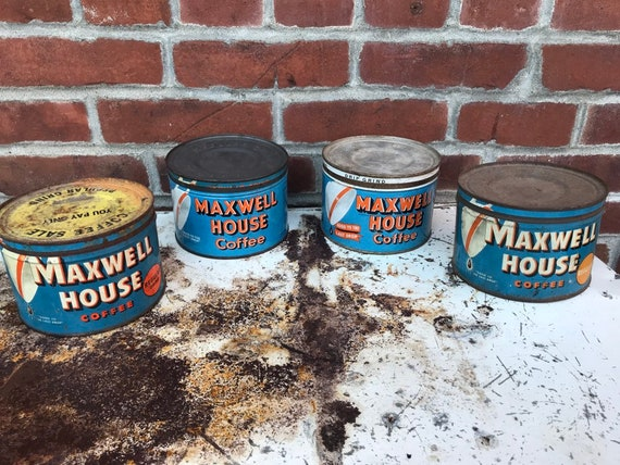 Vintage Orange & Blue White 1940-50s Maxwell House Coffee Tins 1 lb cans w original lids