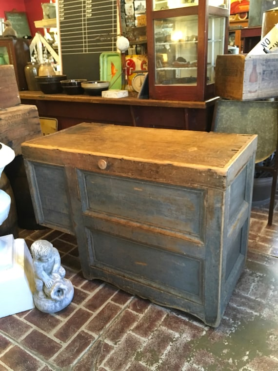 Combined Flour Chest and Bread Table original Blue Paint signed on back Late 1800s to Early 1900s authentic antique from Drakeville Iowa