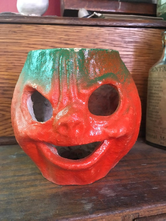 "Vintage Paper Mache Jack O Lantern Halloween 4.5"" Scary Face"