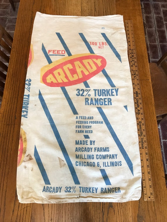 Vintage Feedsack - Arcady Feeds Feed Turkey Ranger 100lb cloth sack Farmhouse Decor