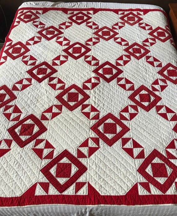 RESERVED for PieSafeTreasures til Jul18 Indiana Red and White Farm Handmade, Hand Stitched, Hand Quilted Cotton Quilt