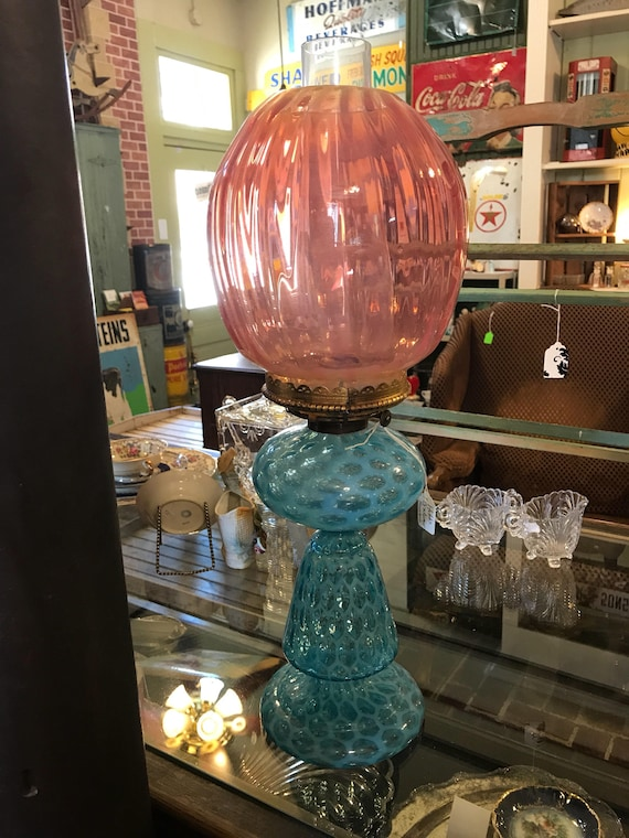 Antique Authentic Hobbs Brochumier Honeycomb Art Glass Lamp Base w Shade