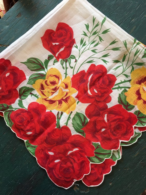 Handkerchief Large Red Yellow Roses