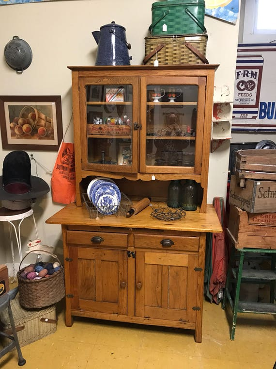 1940s Oak Kitchen Cabinet w pullout Cutting Board Drawers, Glass & Blind Doors