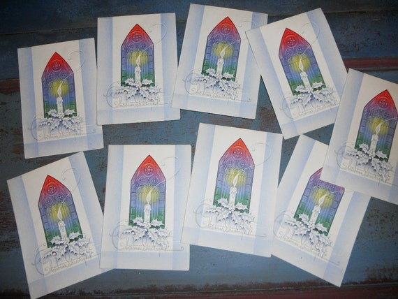 Lot of 15 Unused Stained Glass Window with a Burning Candle Christmas Card