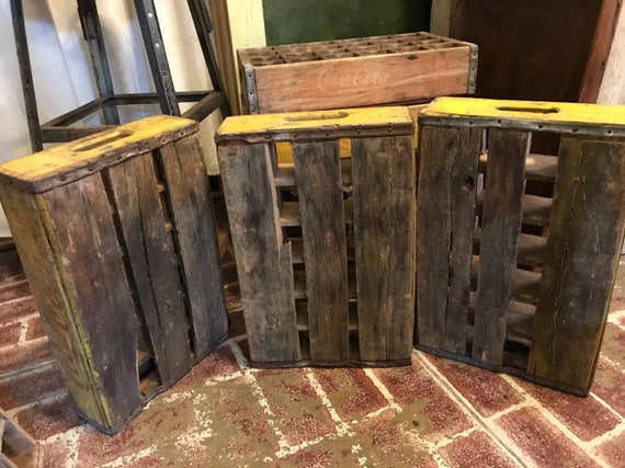 Red and Yellow Coca-Cola original wood Advertising crates - Used 24 divided for bottles