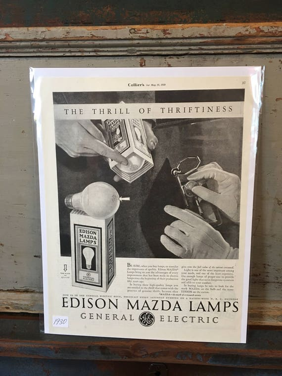 1930 Original Advertising Edison Mazda Lamps GE lightbulbs Ad