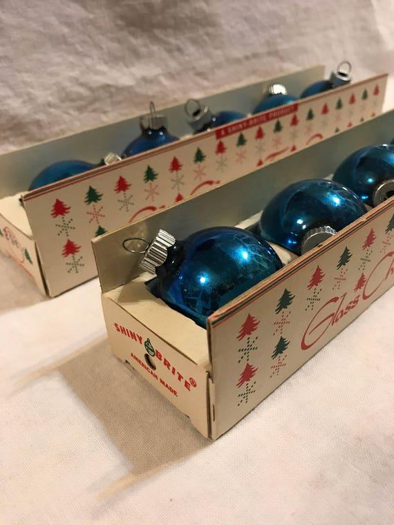 Small Blue Shiny Brite Christmas Ornaments in Original Box 2 boxes 10 ornaments