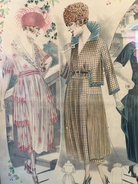 Framed Paris Ladies Fashion Plate 1930s Les Grandes Modes 20 x 26 inches Dresses