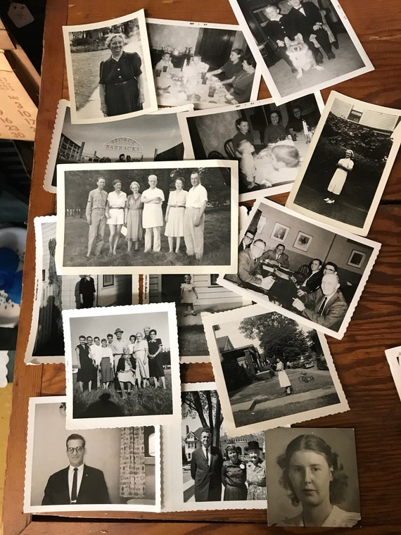 Black and White Photos for Collage Summer 1950s Outdoor Family Dinner Table
