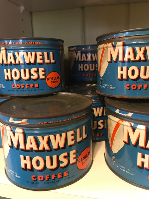 Vintage 1950s Maxwell House Coffee Tins 1 lb cans w original lids