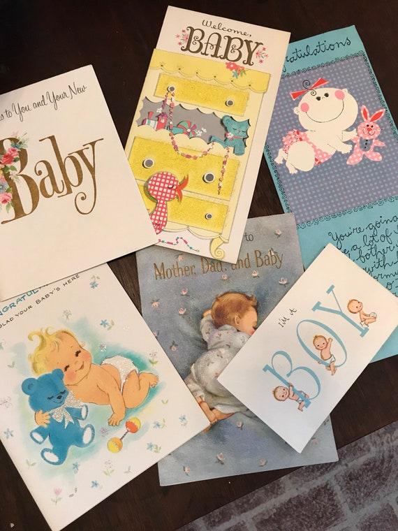 Unused Vintage Baby Greeting Cards - Fun Graphics