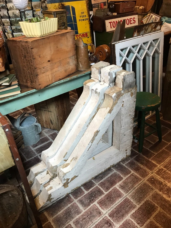 Huge Architectural Salvage Corbels w White Chippy Paint