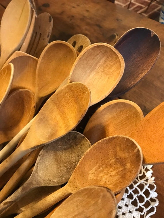 Vintage Wood Spoons assorted, group of 5 for one price