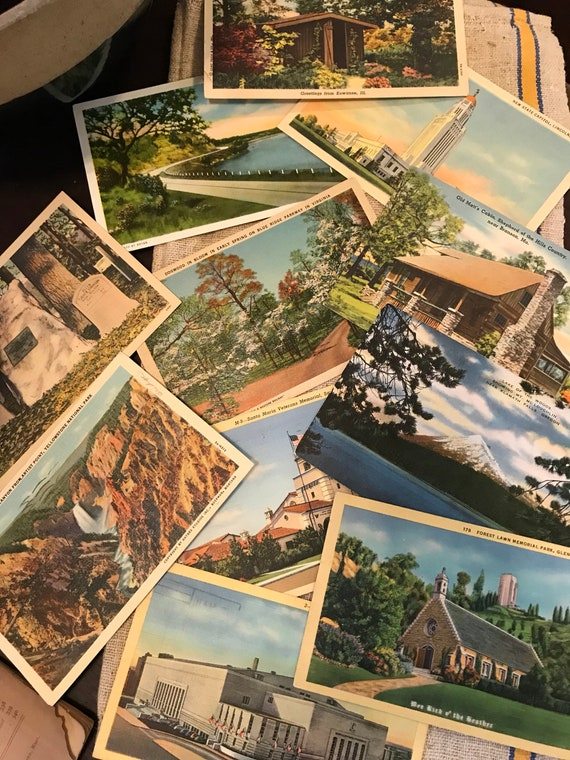 Random Linen Postcard Lot of 10 - assorted places USA Travel 1900s-1940s