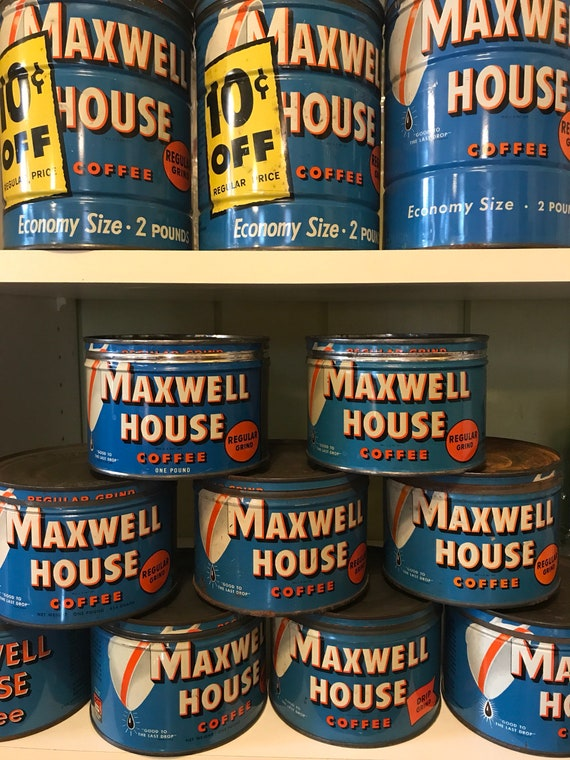 Vintage 1950s Maxwell House Coffee Tins 1-2 lbs cans