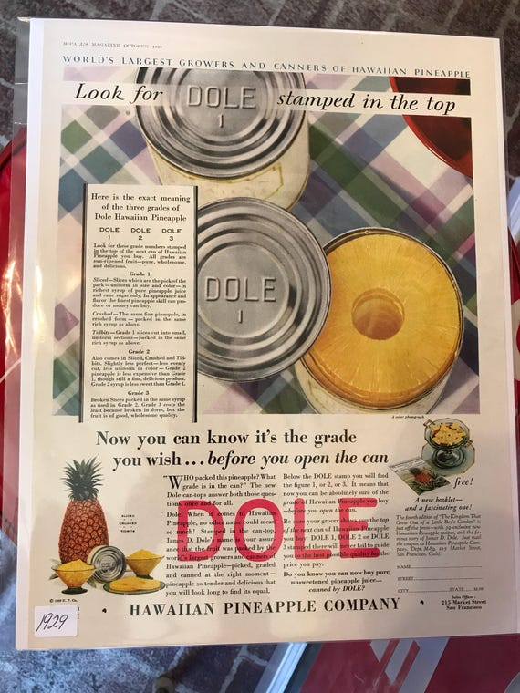 1929 Dole Pineapple Framable Advertisement