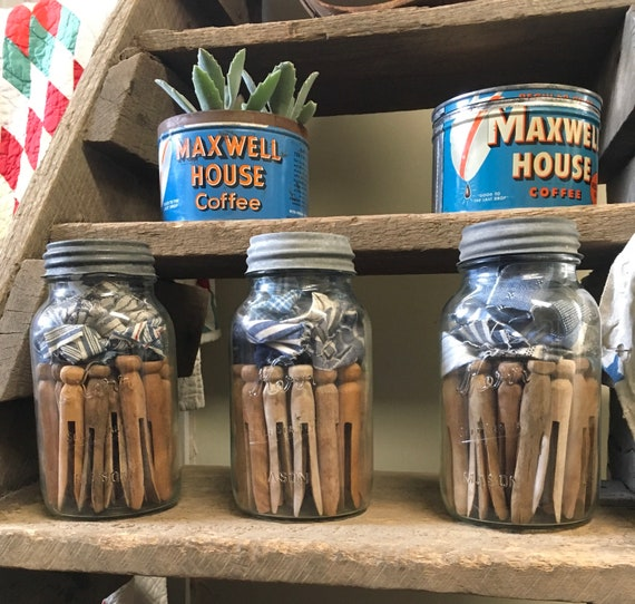 Vintage Wood Clothespins in a Jar for Laundry Room