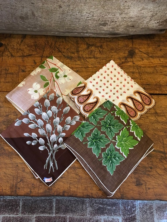 Vintage Fall Day of Color Handkerchief lot of 4 Gift Ideas for each Season
