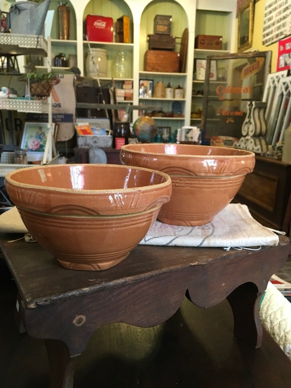 Pair of antique stoneware mixing bowls