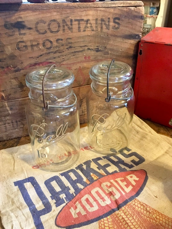 Set of Vintage Clear Ball Ideal Jars No. 13 with Wire Bail Closure