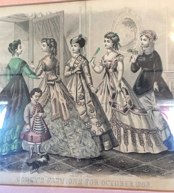 Godeys Fashion October 1868 - Colored Fashion Plate Original Framed