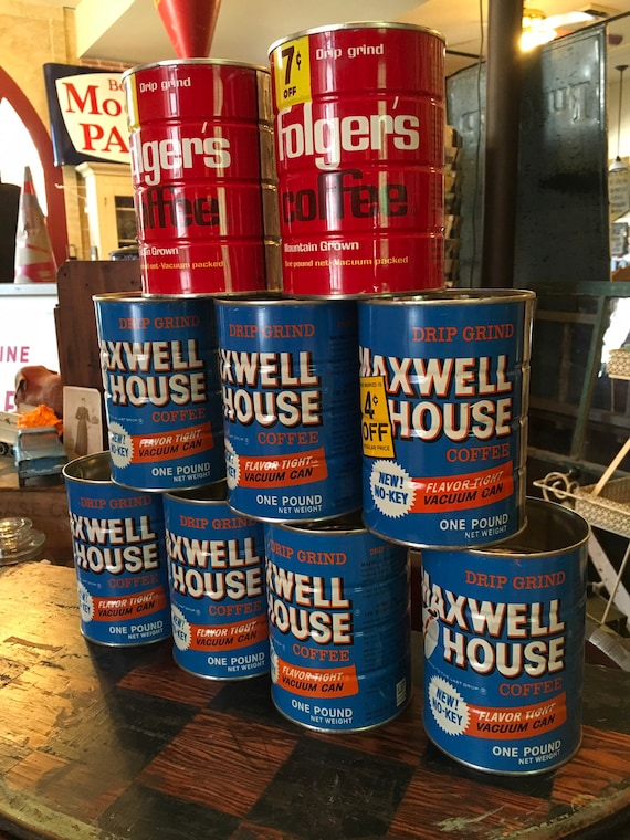 Vintage Blue 1960s Maxwell House Coffee and Folger's Coffee Tins 1 lb cans