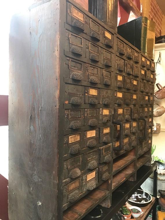 1900s Store Piece w 69 Drawers w Decorative Cast Iron Pulls Heavy Wood