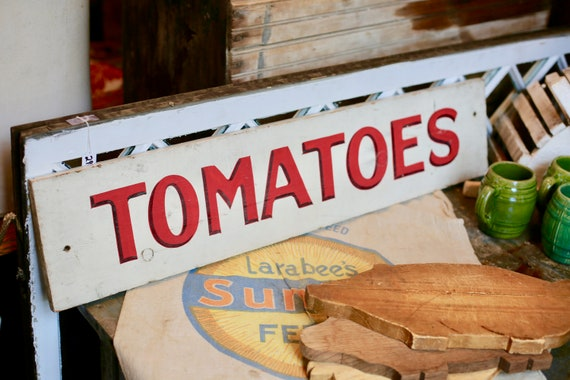Wooden Hand Painted Tomato Sign