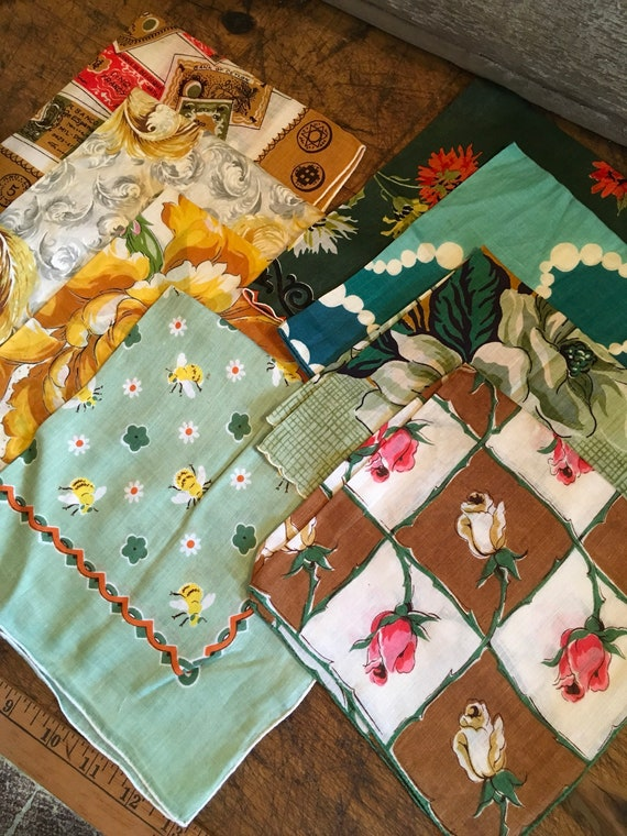Vintage 8 Fall Days of Color Handkerchief lot ~ Gift Ideas Jewel Tones, Bees, World Currency & a Carol Stanley Switzerland original